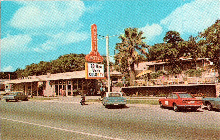 A grainy retro photograph of the Austin Motel exterior